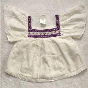 Baby GAP short flutter sleeve embroidered shirt